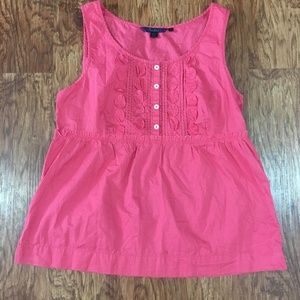 Boden Pintuck Coral Applique Tank Top Size 12